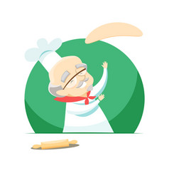 elderly baker making pizza by tossing dough vector image