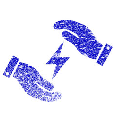 Electricity care hands textured icon vector