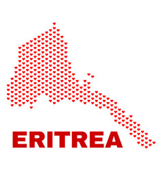 eritrea map - mosaic of heart hearts vector image