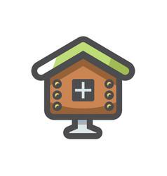 Fairy hut wooden house icon cartoon vector