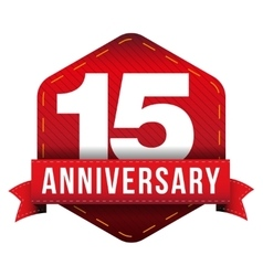 Fifteen year anniversary badge with red ribbon vector