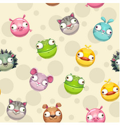 funny seamless pattern with comic cartoon round vector image
