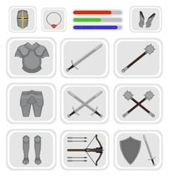 Game inventory Warrior knight set 1 vector