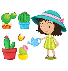 Gardening set with girl watering plants vector