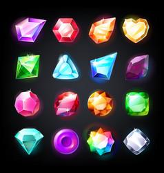 Gems cartoon jewelry stones for game achievement vector