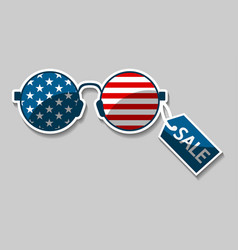 Glasses with the american flag vector