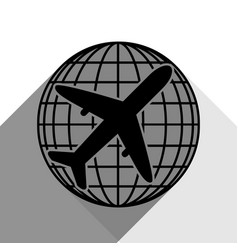 globe and plane travel sign black icon vector image