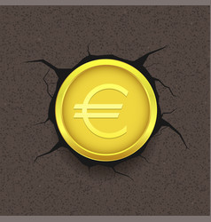 golden euro on cracked background vector image