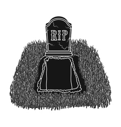 Grave icon in black style isolated on white vector image