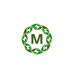 green project solution center initial m vector image