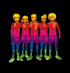 group of children hugging vector image