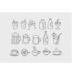 Hand drawn doodle style elements isolated vector