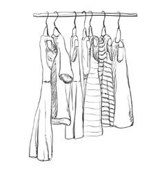 Hand drawn wardrobe sketch Dress vector image