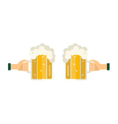 Hands with beer bottle toasting vector