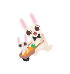 happy family bunnies father rabbit pushing vector image