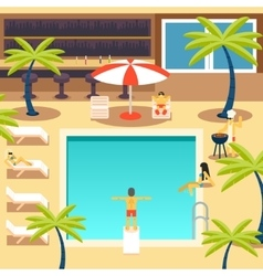 Happy people sunny pool hotel summer vacation vector