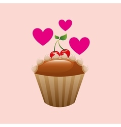 Heart cartoon cupcake delicious cream cherry icon vector