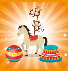 Horses and monkeys circus show vector
