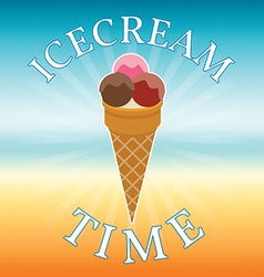 Icecream on blurred beach background Icecream time vector image