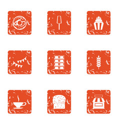 Introduce icons set grunge style vector