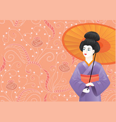 Japanese geisha girl in kimono on pink pattern vector