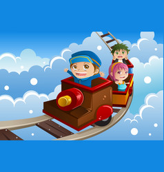 kids riding a train vector image