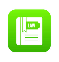 law book icon digital green vector image