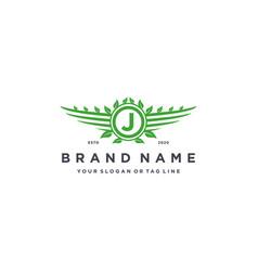 Letter j leaf wing logo design concept vector