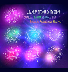 Line art chakras on outer space background vector