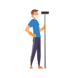 Man in protective mask standing with broom vector
