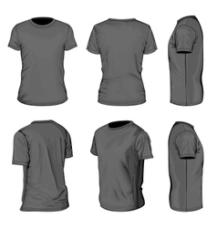 Mens black short sleeve t-shirt design templates vector image vector image