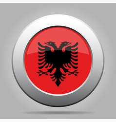 Metal button with flag of Albania vector