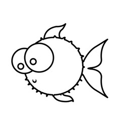 monochrome silhouette of blowfish with big eyes vector image