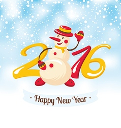 New Year greeting card with snowman vector