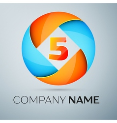 Number five logo symbol in the colorful circle tem vector