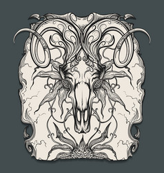 ram skull engraving vector image vector image