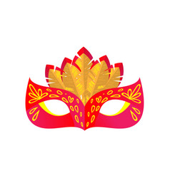 Red color mystery carnival mask with yellow color vector