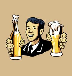 Retro man offering beer vector