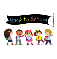 School kids holding back to school banner vector