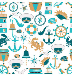 seamless pattern of nautical design elements vector image