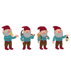 set dwarfs isolated on a white background vector image