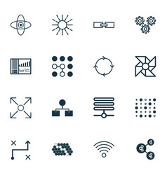 set of 16 robotics icons includes laptop vector image