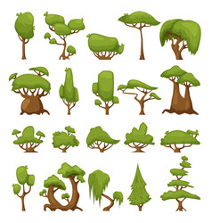 set of abstract stylized trees park and vector image
