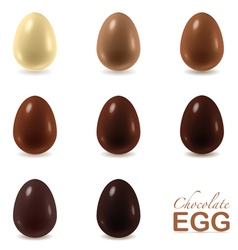 Set of chocolate eggs on white vector