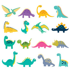 Set of cute dino vector