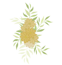 silhouette flowers with leaves vector image