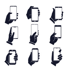 Smartphone in hand isolated silhouettes mobile vector