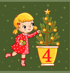 Sweet girl decorate a christmas tree vector