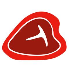 T-bone beef steak flat icon vector