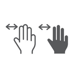 three fingers horizontal scroll line and glyph vector image